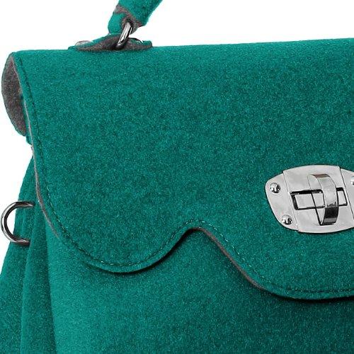 feutrine en EN TS588 coloris et petites à avec main CASPAR ITALIE femme pour Petrol bandoulière FABRIQUÉ Sac anses plusieurs TOIwaqt