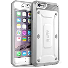 iPhone 6s Plus Case, SUPCASE Belt Clip Holster Apple iPhone 6 Plus Case 5.5 Inch [Unicorn Beetle Pro] w/ Built-in Screen Protector (White/Gray)