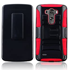 IMAX For LG G3 Case Cover Protector Armor Case Kickstand Holster Belt Clip Combo (Combo red)
