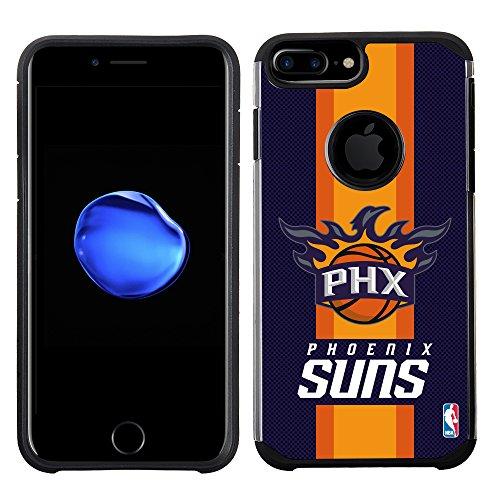 NBA Phoenix Suns - Licensed Team Color Texture Case with Center Stripe Design for iPhone 8 Plus / 7 Plus / 6s Plus / 6 Plus (Cellular Case Phoenix Suns Phone)
