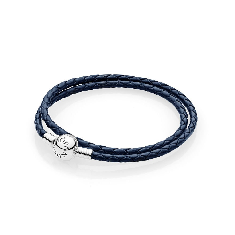 Pandora Moments Dark Blue Leather Silver Charm Bracelet 590745CDBD1