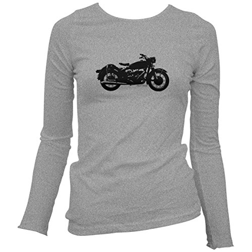Smash Vintage Women's Vintage Motorcycle Long Sleeve T-shirt - Sport Gray, Large