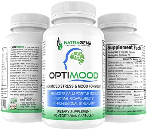 OPTIMOOD- Serotonin Mood Support, Natural Antidepressant, Anxiety Relief, 5HTP Gabba, L Theanine, Rhodioloa Ashwaghanda, Saffron Supplement, Stress Support, Mood Enhancer, Tumeric.