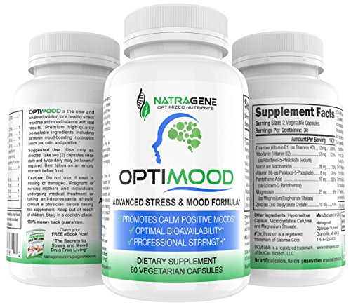 OPTIMOOD- Serotonin Mood Booster, Natural Antidepressant, Anxiety Relief, 5HTP, Gabba, L Theanine, Rhodioloa Ashwaghanda, Saffron Supplement, Stress Support, Mood Enhancer, Tumeric.