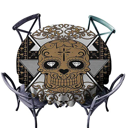 (HCCJLCKS Elegant Waterproof Spillproof Polyester Fabric Table Cover Tattoo Skull with Diamond Eyes and Floral Theme Vine Art Tattoo Renaissance Inspired Easy to Clean D71 Brown and Black)