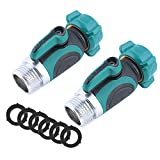 uvce 1 Way Metal Garden Hose Connector,Garden Hose Water Splitter Shut Off Valve with Easy Turn Control Valves Free 6 Rubber Hose Washers Set of 2