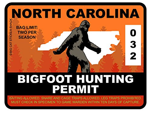 Bigfoot Hunting Permit - NORTH CAROLINA (Bumper Sticker)