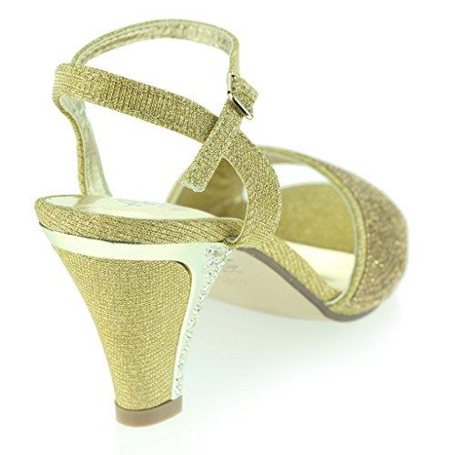 Mujer Señoras Joyado Tacón Del Gatito Diamante De Imitación Noche Fiesta Boda Prom Sandalias Zapatos Talla Oro