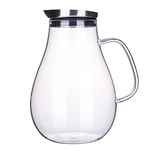 Jarra de cristal de 2 litros con tapa, jarra de agua para agua ...