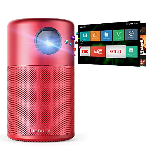 Nebula Capsule Smart Mini Projector, by Anker, Portable 100 ANSI lm High-Contrast Pocket Cinema with Wi-Fi, DLP, 360° Speaker, 100 Picture, Android 7.1, 4-Hour Video Playtime, and App-Red