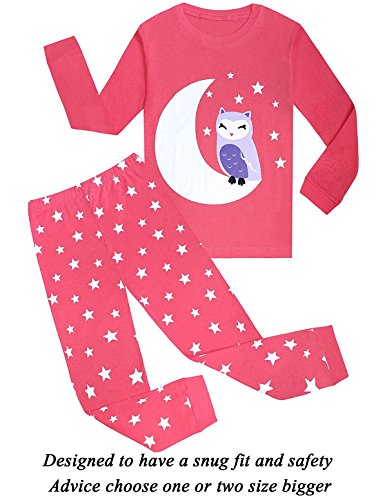 Girls Pajamas Cotton Toddler Sleepwear Kids Clothes PJS Children Shirts Size (Cotton Kids Pajamas)