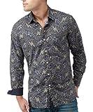 Joe Browns Men's Twin Button Paisley Shirt, Navy, Medium