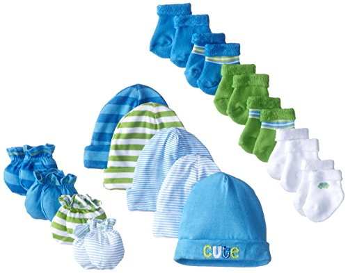 Gerber Baby Boys 15 Piece Socks, Caps, and Mittens Essential Gift Set