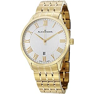 Alexander Statesman Triumph Bracelet Wrist Watch For Men - Silver White Dial Date Analog Swiss Watch - Stainless Steel Plated Yellow Gold Watch - Mens Designer Watch A103B-03