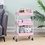 TOOLF 3 Tier Rolling Cart, No Screw Metal Utility