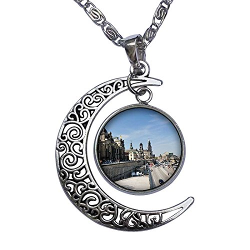 Market Square Glass Pendant (Travel view market square in Bremen Germany Crescent Moon Galactic Universe Glass Cabochon Pendant)