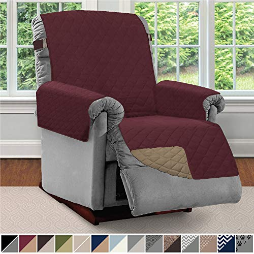 - SOFA SHIELD Original Patent Pending Reversible Recliner Slipcover, 2 Inch Strap Hook Seat Width Up to 28 Inch Washable Furniture Protector, Slip Cover Throw for Pets, Kids Cats, Recliner, Burgundy Tan