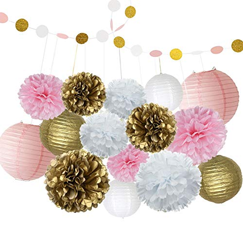 16 Pcs Pink and Gold Party Decoration Supplies with Paper Lanterns Tissue Pom Poms and Garland for 1st Baby Girl (1st Birthday Paper Lantern)