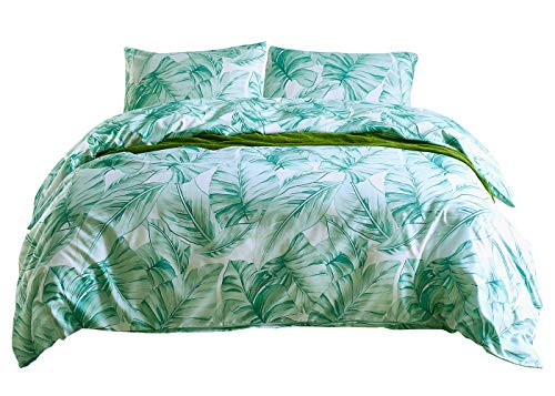 NOKOLULU Leaves Duvet Cover Set Tropical Palm Tree Fronds and Banana Tree Leaves Pattern Printed Luxury Quality Soft Breathable Hypoallergenice Durable(1 Duvet Cover + 2 Pillow Shams)(Queen,Green)
