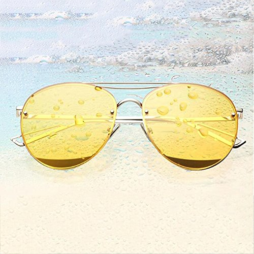 Resplandor Gafas frame UVA UVB larga Corea Silver Personalidad Color WLHW ocean frame yellow polarizadas mercury Silver Resina sol de Cara FwA6Wqd0