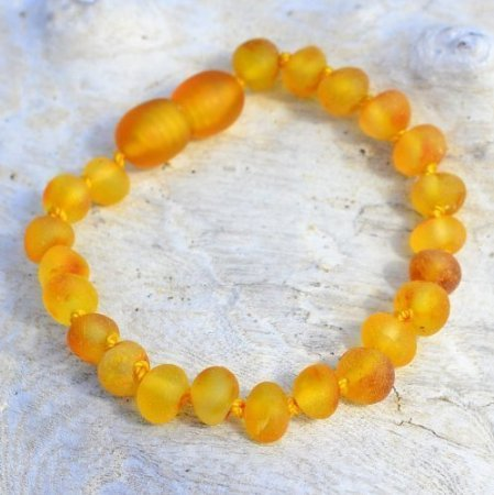Raw Baltic Amber Teething Bracelet for Baby - Safety Knotted - Honey - 1