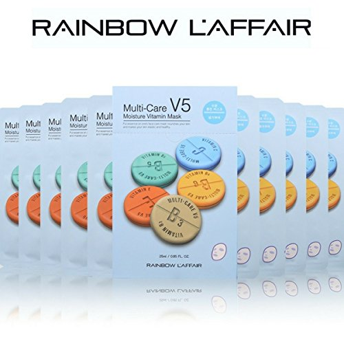 Korean Skin Care L'Affair V5 Moisturizing Hyaluronic-Acid Vitamin Facial Sheet Mask Brings the Powerful Strength of K-Beauty Skin Care in a Face Mask Sheet Set 10 Pcs