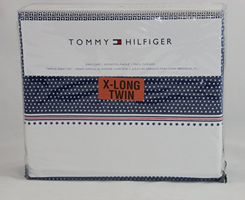 tommy-hilfiger-navy-with-white-stars-twin-extra-long-sheet-set