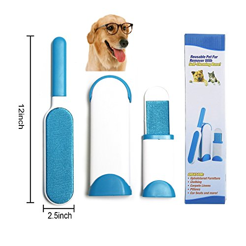 Animal Hair Remover Furniture, Pet Fur Tool & Lint Remover with Self-Cleaning Base Double-Sided pet hair brush - Dog & Cat Hair Remover for Furniture, Couch, Carpet, Bed, Car Seat, Clothing