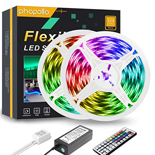PHOPOLLO LED Strip Lights, 32.8ft RGB Color Changing 5050 300LEDs Waterproof Flexible LED Tape Light Kit with 44 Key IR Remote Controller and 12V Power Supply for Room, Bedroom and Xmas