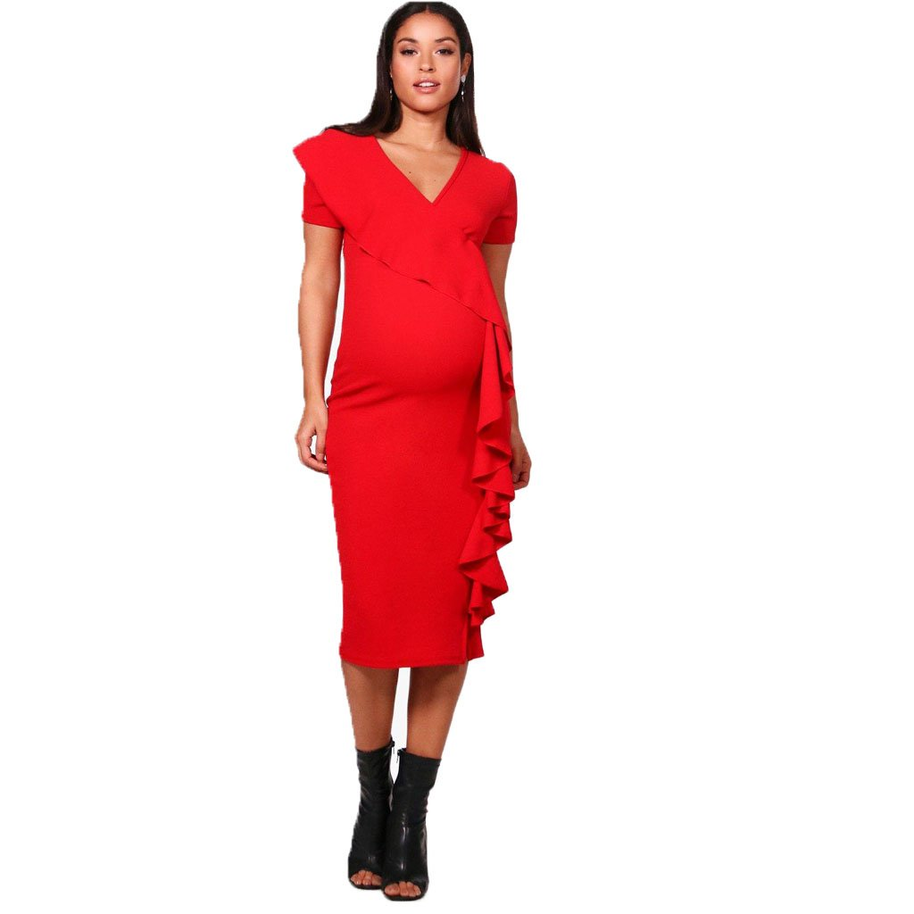 Top Fashion18 Womens Plaine Ruffle Front Volant Laura Maternité Moulante Manches Capuche Midi Robe Petit Pour Plus La Taille (Rouge, EU 40)