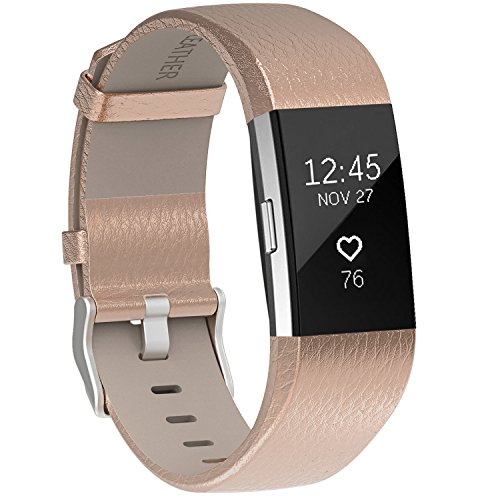 Henoda Replacement Bands Compatible with Charge 2, Classic Genuine Leather Charge 2 Band Fitness Wristband for Women Men Small Large Rose Gold ()