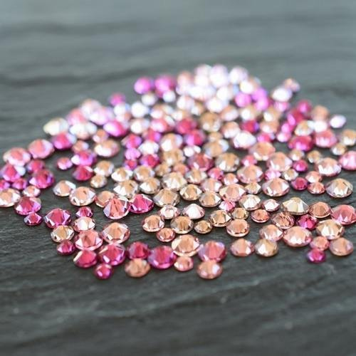 Mix Swarovski Hot Fix Crystals - Swarovski Flatback Crystals No Hotfix Colour Mix - Pinks | Small Pack (250) | Small & Wholesale Packs | Free Delivery
