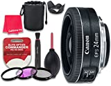 Canon EF-S 24mm f/2.8 STM Lens for Canon DSLR Cameras - International Version (No Warranty) + 3pc Filter Kit (UV, FLD, CPL) + 3pc Accessory Kit w/ Celltime Cleaning Cloth
