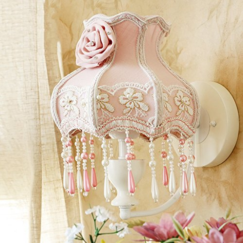 European Style Wall Lamp Garden Wall Lamp Pink Cloth Art Wall Lamp Lace Wall Lamp Bedroom Bedside ()