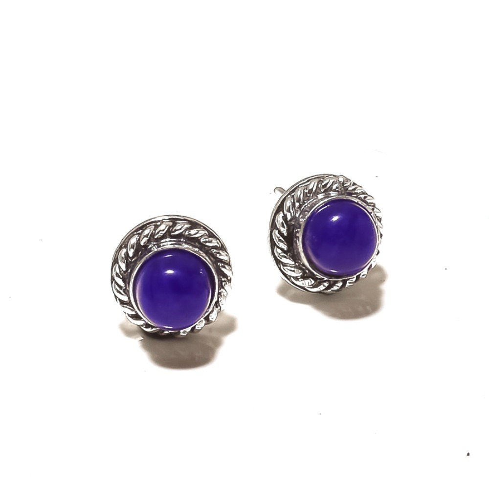 Gift Jewelry Blue Dyed Sapphire Sterling Silver Overlay 4 Grams Stud//Earring 10mm