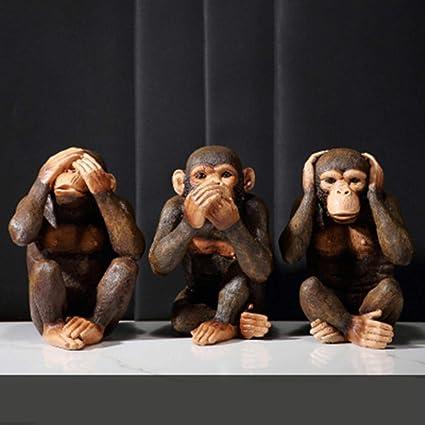 DAYUZH Heimtextilien Handwerk,Europäische DREI Weise Affen Statue Nicht Sehen Nicht Hören Nicht Sagen Affen Kunst Skulptur Handwerk Handwerk Veranda Dekoration, Kombination