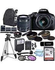 Canon EOS 2000D / Rebel T7 DSLR Camera with EF-S 18-55mm Zoom Lens + SanDisk 32GB Memory Card + Tripod + Case + Wideangle Lenses + Model Electronics Cloth (20pc Bundle)