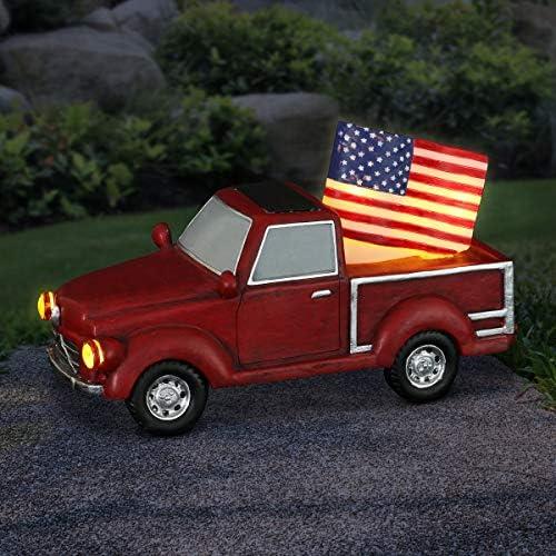 Exhart Solar American Red Truck w/American Flag
