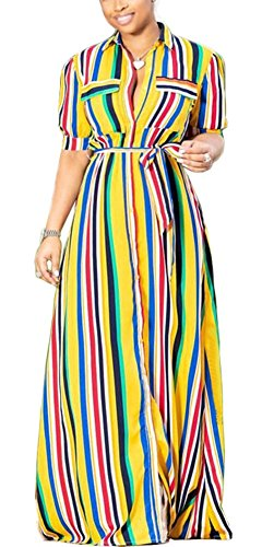 Belt Dresses Rainbow Clothing Womens (WearFun Womens Button Down Collar Roll up Sleeve Stripes Long Maxi Dresses with Belt)