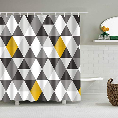 BROSHAN Geometric Fabric Shower Curtain Abstract Triangle Grey Black White Yellow Pattern Polyester Waterproof Bathroom Decor Set with Hooks, 72 x 72 Inch (Curtain Shower Grey Black)