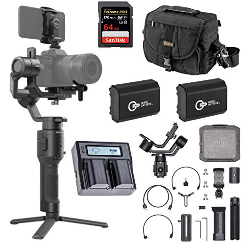 DJI Ronin-SC Handheld 3-Axis Gimbal Stabilizer for Sony Mirrorless Camera, (a7 III, a7RIII, a7R IV, a6600) Pro Video Bundle with Bag, 64GB SD Card, 2 Green Extreme NP-FZ100 Battery, Dual Charger