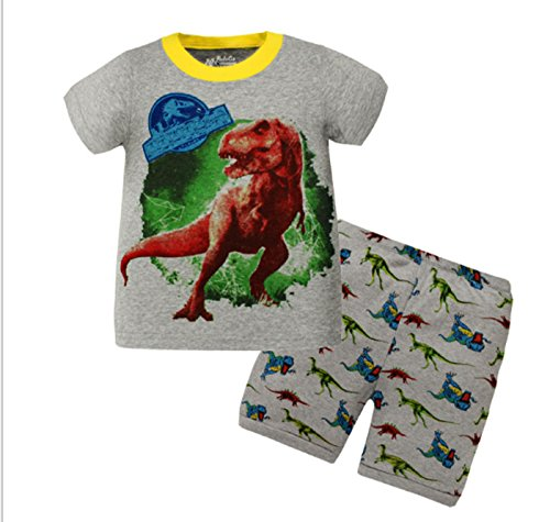 Summer Little Boys' Dinosaur Pattern Short Sleeve Crew Neck Pajamas Sets