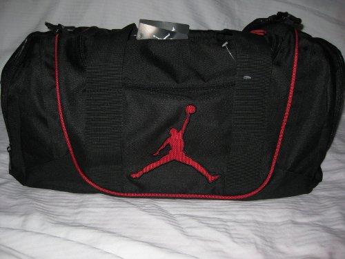 Nike Jordan Duffle Bag Jumpman 23 Black Red Gym Travel Sports Duffle ... 1e08ad0b91262