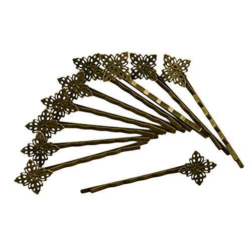 MonkeyJack Vintage Bronze Filigree Hair Clip Bobby Pin Headwear Square Flower Jewelry Findings 10-piece ()
