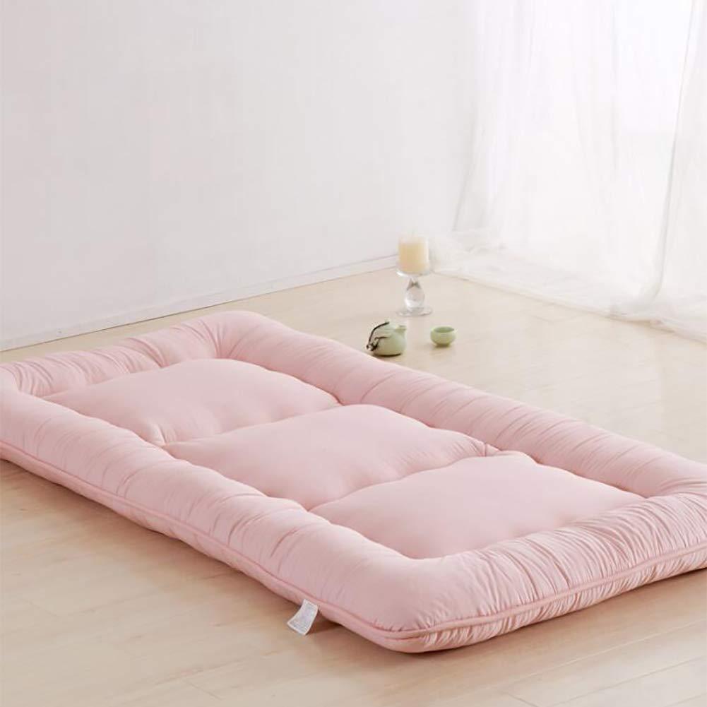 厚め ベッドパッド, 和風 布団 マットマット 柔らか 式 マットレスをロールアップします。 の 1 ダブル マットレス ホーム 学校-pink B07S184C7D
