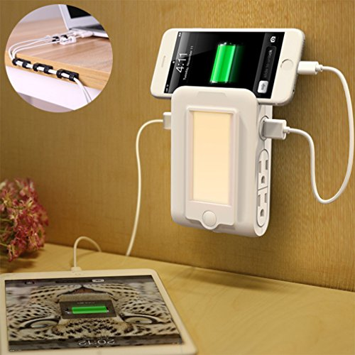 Yamissi 2.0ver Wall Mount Charger, with Anti-mess Wire Holder, 110V 60Hz with 2 USB Ports & 4 AC Outlets Charging Station, Dusk to Dawn Sensor LED Night Light and Slot Phone Holder