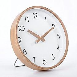 zhENfu The Clock Desktop Clock Nordic Living Room Wall Clock Creative Modern Circular Mute Solid Wood Clock Quartz Clocks Wall Chart Bedroom,D Wall Clock