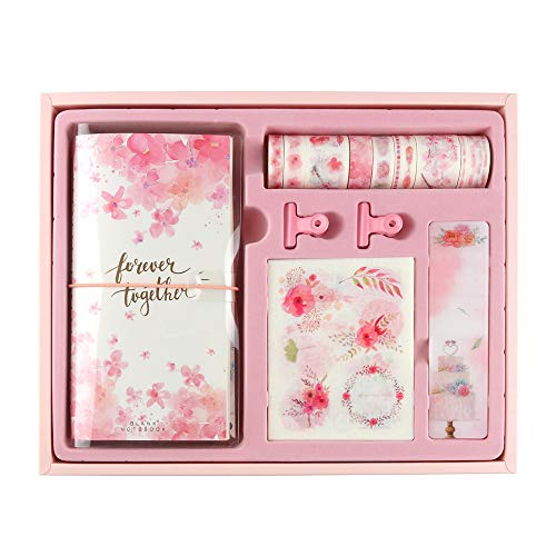 Planners Scrapbook Box Kits Craft Gifts-10rolls Washi Masking Tape,3Notebook,4Tape Dispense Board,2Metal Clips,20Stickers(About 150Pieces) for DIY,Scrapbooking,Wrapping (Streamer Cherry Blossom)