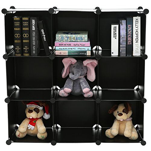 C&AHOME - 9 Cube Storage Organizer Closet Shelf DIY Bookcase Toy Rack, Black ()