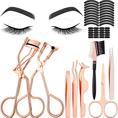 48 Pieces Eyelash Curler Makeup Tools Set, include Mini Eyelash Curler Kit, Eyebrow and Eyelash Extension Tweezers, Eyelash Eyebrow Brush Comb and Eyelashes Scissors, Silicone Refill Pads